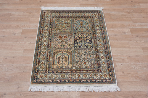 100% Silk Multi Kashmiri Silk Rug KSK006033 93x64 Handknotted in India with a 5mm pile