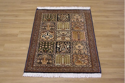 100% Silk Multi Kashmiri Silk Rug KSK006034 .96 x .62 Handknotted in Kashmir with a 5mm pile