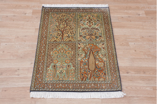100% Silk Multi Kashmiri Silk Rug KSK006034 92x60 Handknotted in India with a 5mm pile