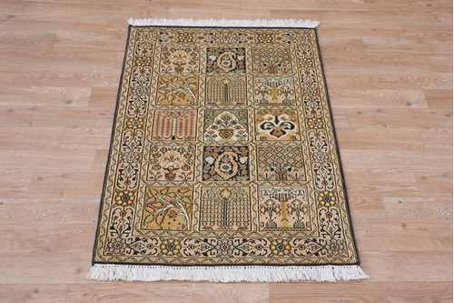 100% Silk Multi Kashmiri Silk Rug KSK006034 93x63 Handknotted in India with a 5mm pile