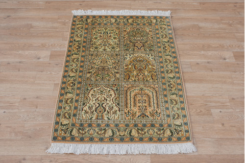 100% Silk Multi Kashmiri Silk Rug KSK006039 95x61 Handknotted in India with a 5mm pile