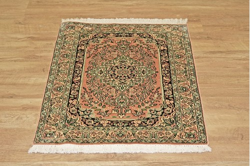 100% Silk Black Kashmiri Silk Rug KSK006073 94 x 63 Handknotted in Kashmir with a 5mm pile