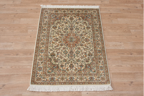 100% Silk Cream Kashmiri Silk Rug KSK006075 95x63 Handknotted in India with a 5mm pile