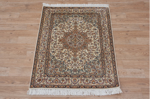 100% Silk Cream Kashmiri Silk Rug KSK006075 95x64 Handknotted in India with a 5mm pile