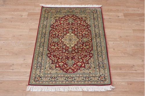 100% Silk Red Kashmiri Silk Rug KSK006080 95x65 Handknotted in India with a 5mm pile