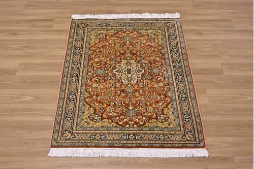 100% Silk Rust Kashmiri Silk Rug KSK006083 .96 x .63 Handknotted in Kashmir with a 5mm pile