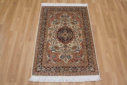 100% Silk Cream Kashmiri Silk Rug KSK006084 97 x 63 Handknotted in Kashmir with a 5mm pile