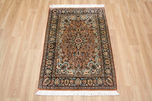 100% Silk Blue Kashmiri Silk Rug KSK006086 96 x 61 Handknotted in Kashmir with a 5mm pile