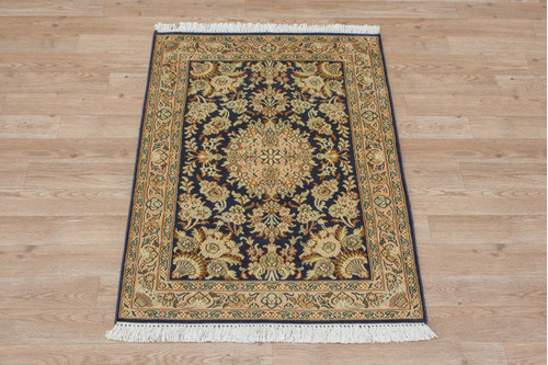 100% Silk Blue Kashmiri Silk Rug KSK006086 96x62 Handknotted in India with a 5mm pile