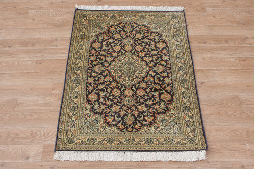 100% Silk Blue Kashmiri Silk Rug KSK006088 93x62 Handknotted in India with a 5mm pile