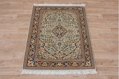 100% Silk Green Kashmiri Silk Rug KSK006093 95x65 Handknotted in India with a 5mm pile