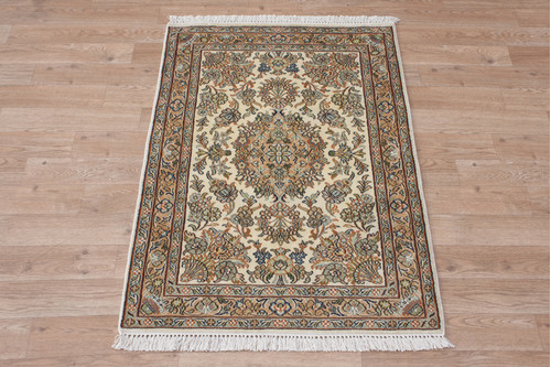 100% Silk Cream Kashmiri Silk Rug KSK006094 96x64 Handknotted in India with a 5mm pile