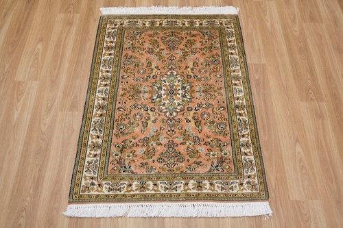 100% Silk Rose Kashmiri Silk Rug KSK006095 91 x 64 Handknotted in Kashmir with a 5mm pile