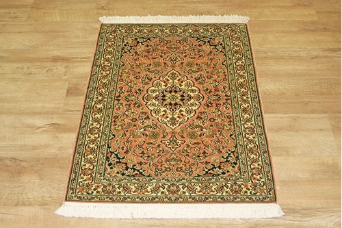 100% Silk Rose Kashmiri Silk Rug KSK006095 91 x 63 Handknotted in Kashmir with a 5mm pile