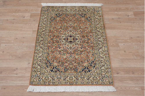 100% Silk Rose Kashmiri Silk Rug KSK006095 94x62 Handknotted in India with a 5mm pile