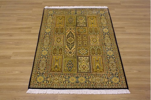 100% Silk Multi Kashmiri Silk Rug KSK009034 1.24 x .68 Handknotted in Kashmir with a 5mm pile