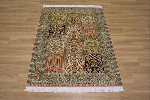 100% Silk Multi Kashmiri Silk Rug KSK009039 1.31 x .81 Handknotted in Kashmir with a 5mm pile