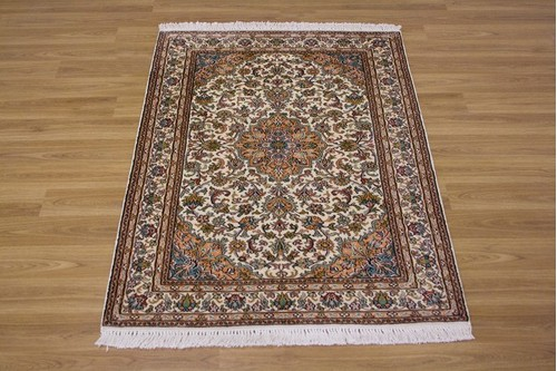 100% Silk Cream Kashmiri Silk Rug KSK009075 1.21 x .79 Handknotted in Kashmir with a 5mm pile