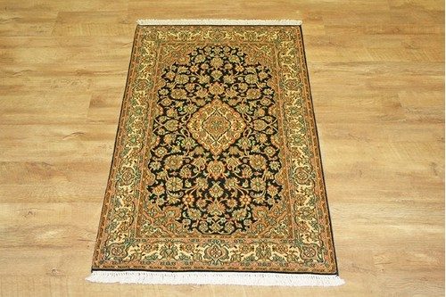 100% Silk Blue Kashmiri Silk Rug KSK009088 129 x 78 Handknotted in Kashmir with a 5mm pile