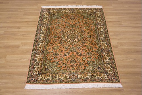 100% Silk Rose Kashmiri Silk Rug KSK009095 1.24 x .80 Handknotted in Kashmir with a 5mm pile