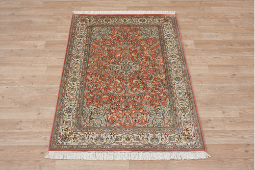 100% Silk Rose Kashmiri Silk Rug KSK009095 118x77 Handknotted in India with a 5mm pile