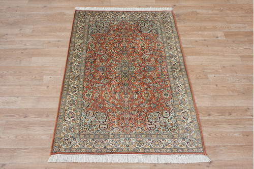 100% Silk Rose Kashmiri Silk Rug KSK009095 122x76 Handknotted in India with a 5mm pile