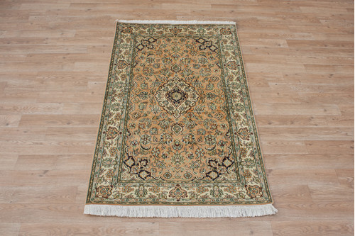 100% Silk Rose Kashmiri Silk Rug KSK009095 133x78 Handknotted in India with a 5mm pile
