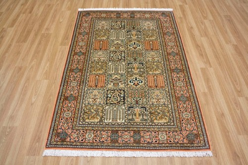 100% Silk Multi Kashmiri Silk Rug KSK013039 154 x 92 Handknotted in Kashmir with a 5mm pile