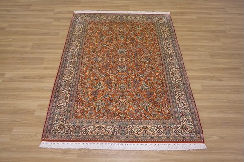 100% Silk Cream Kashmiri Silk Rug KSK013094 1.51 x .93 Handknotted in Kashmir with a 5mm pile