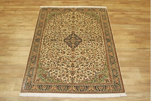 100% Silk Cream Kashmiri Silk Rug KSK018084 188 x 127 Handknotted in Kashmir with a 5mm pile