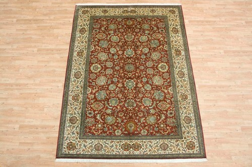 100% Silk Red Kashmiri Silk Rug KSK022070 282 x 193 Handknotted in Kashmir with a 5mm pile