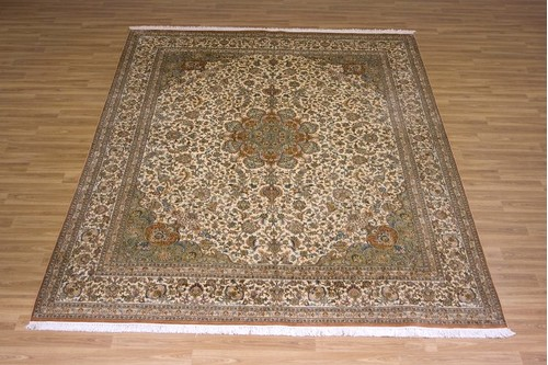 100% Silk Cream Kashmiri Silk Rug KSK025075 3.07 x 2.40 Handknotted in Kashmir with a 5mm pile