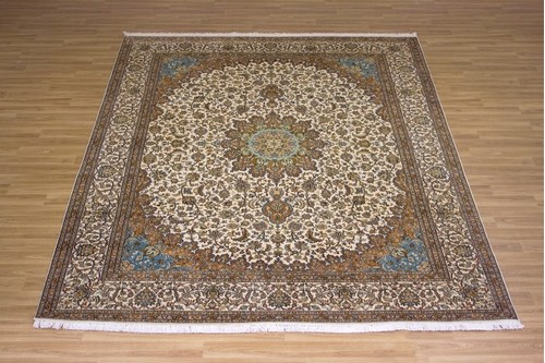 100% Silk Cream Kashmiri Silk Rug KSK025075 3.12 x 2.48 Handknotted in Kashmir with a 5mm pile