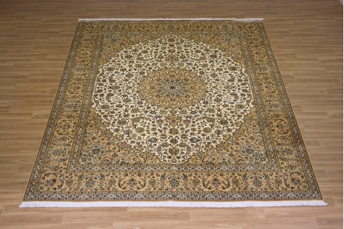 100% Silk Cream Kashmiri Silk Rug KSK025079 3.10 x 2.49 Handknotted in Kashmir with a 5mm pile