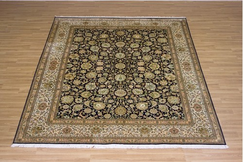 100% Silk Blue Kashmiri Silk Rug KSK025088 2.97 x 2.44 Handknotted in Kashmir with a 5mm pile