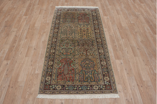 100% Silk Multi Kashmiri Silk Rug KSK042039 176x80 Handknotted in India with a 5mm pile