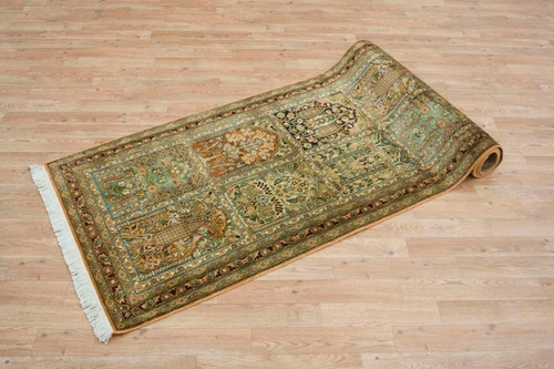 100% Silk Multi Kashmiri Silk Rug KSK045036 285 x 82 Handknotted in Kashmir with a 5mm pile