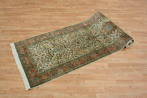 100% Silk Cream Kashmiri Silk Rug KSK045082 292 x 81 Handknotted in Kashmir with a 5mm pile