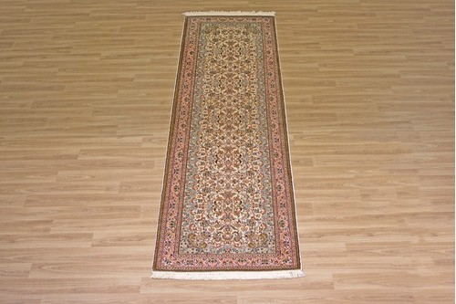 100% Silk Cream Kashmiri Silk Rug KSK045094 2.64 x .80 Handknotted in Kashmir with a 5mm pile