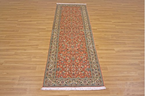 100% Silk Rose Kashmiri Silk Rug KSK045095 2.71 x .77 Handknotted in Kashmir with a 5mm pile
