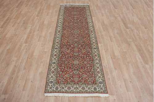 100% Silk Rose Kashmiri Silk Rug KSK045095 270x80 Handknotted in India with a 5mm pile