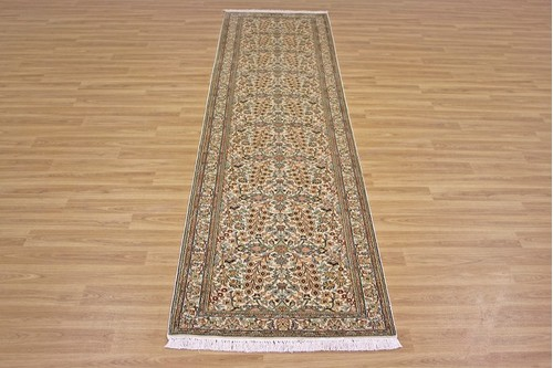 100% Silk Cream Kashmiri Silk Rug KSK047075 3.00 x .77 Handknotted in Kashmir with a 5mm pile