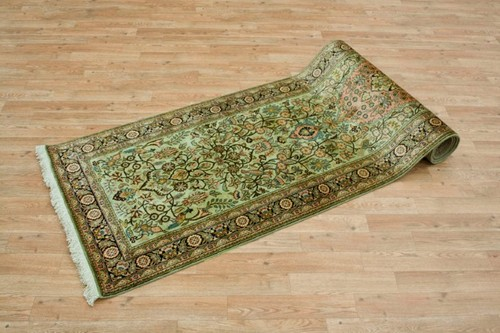 100% Silk Green Kashmiri Silk Rug KSK047093 299 x 79 Handknotted in Kashmir with a 5mm pile