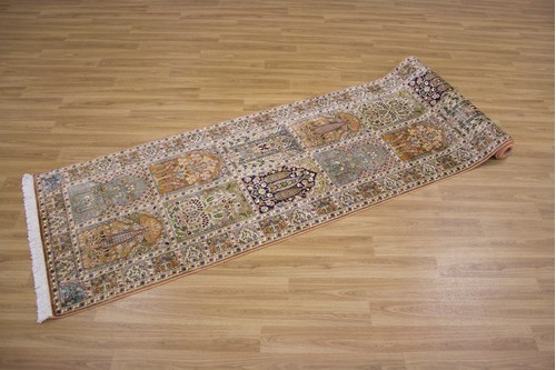 100% Silk Multi Kashmiri Silk Rug KSK048036 3.61 x .79 Handknotted in Kashmir with a 5mm pile