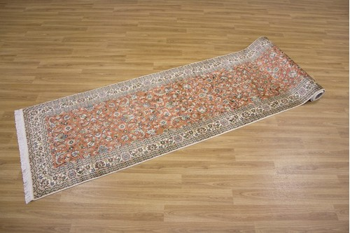 100% Silk Rose Kashmiri Silk Rug KSK048095 3.35 x .77 Handknotted in Kashmir with a 5mm pile