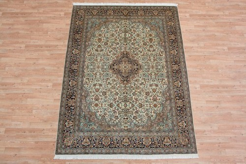 100% Silk Cream Kashmiri Silk Rug KSK089084 249 x 171 Handknotted in Kashmir with a 5mm pile