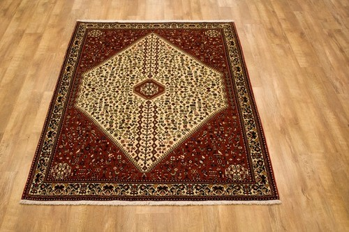 100% Wool Cream Persian Abadeh Rug PAB019044 195 x 155 Handknotted in Iran with a 15mm pile