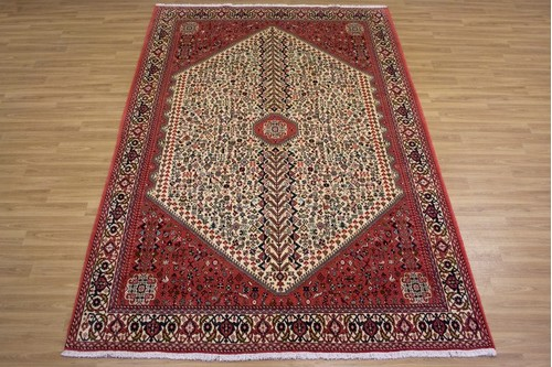 100% Wool Cream Persian Abadeh Rug PAB023044 3.04 x 2.02 Handknotted in Iran with a 15mm pile