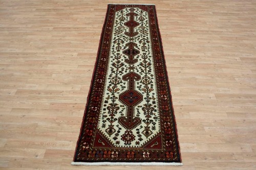 100% Wool Cream Persian Abadeh Rug PAB047044 295 x 83 Handknotted in Iran with a 15mm pile