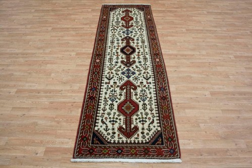 100% Wool Cream Persian Abadeh Rug PAB047044 295 x 86 Handknotted in Iran with a 15mm pile